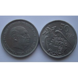50 pesetas 1957  * 58, 59, 60