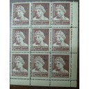 Bloque de 9 sellos fiscales (1pta)
