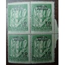 Bloque de 4 sellos fiscales (10cts)