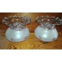 2 globos lámpara cristal color violeta mate y brillo, mediados siglo XX
