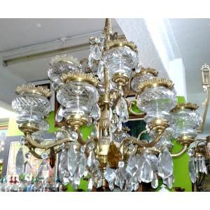 FABULOSA LAMPARA DE BRONCE CON 16 LUCES